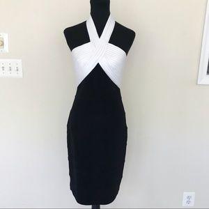 Tadashi Shoji Halter Bandage Cocktail Midi Dress